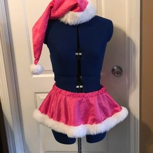 Sexy pink Santa skirt with rhinestone hat